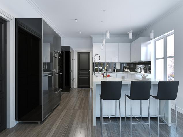 Zobacz galerię zdjęć Biało czarna kuchnia i wyspa kuchenna   -> Kuchnia Bialo Czarna Zdjecia
