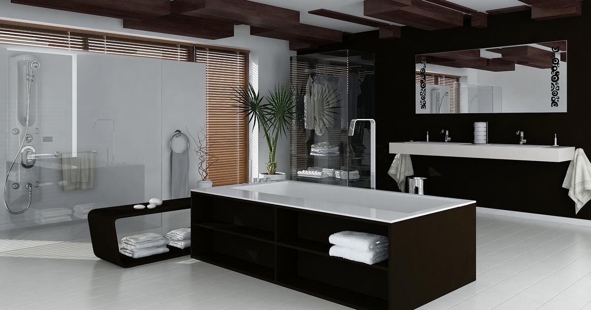 pomys na azienk aran acja bia o czarnej azienki. Black Bedroom Furniture Sets. Home Design Ideas