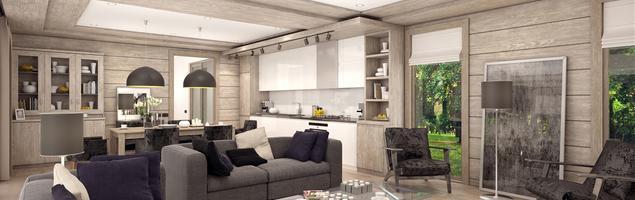 Szary salon z drewnianą boazerią – nowoczesna aranżacja